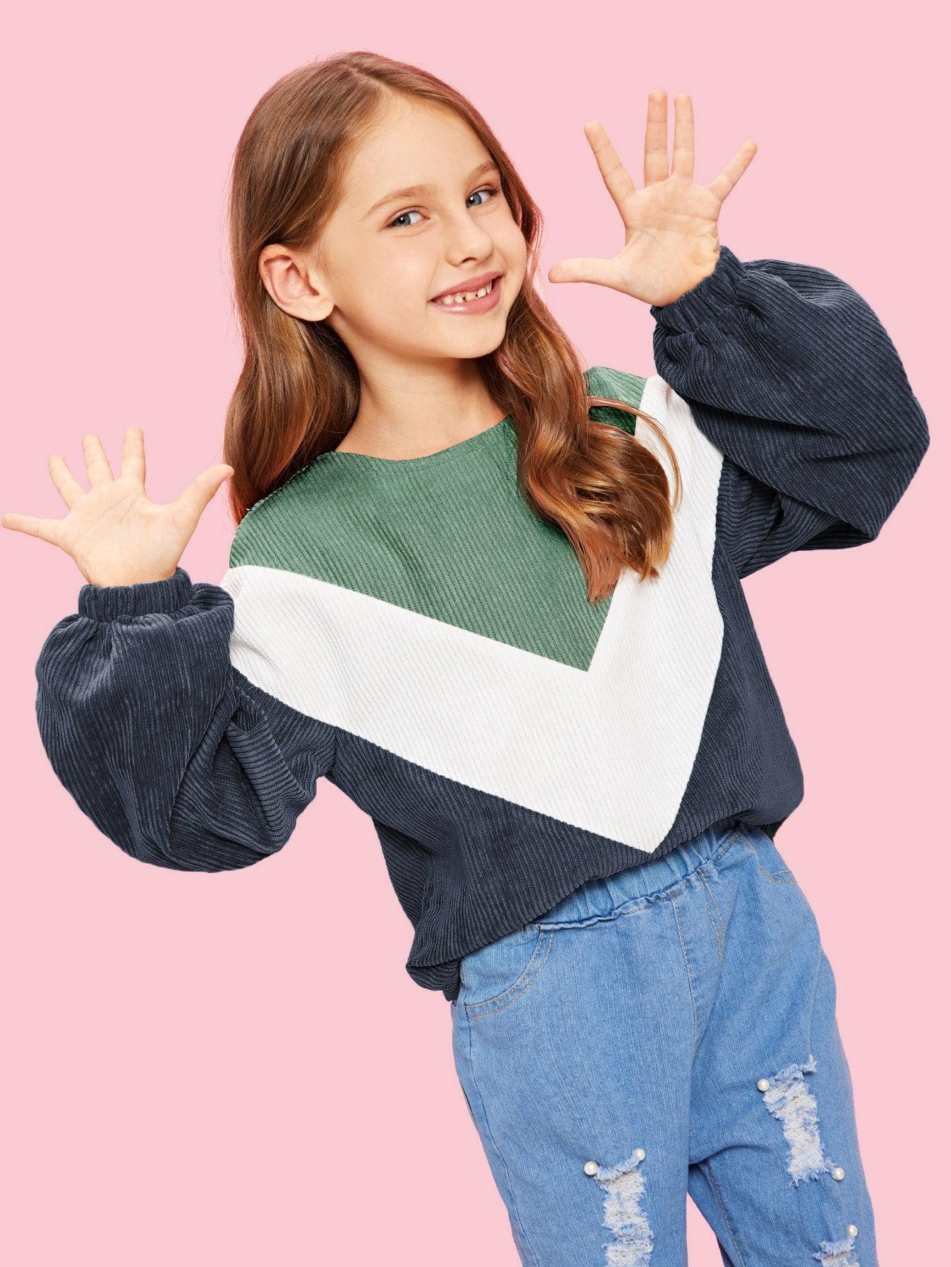 Купить Многоцветный на молнии Шеврон Повседневный Толстовки для девочек, Anna C, SheIn