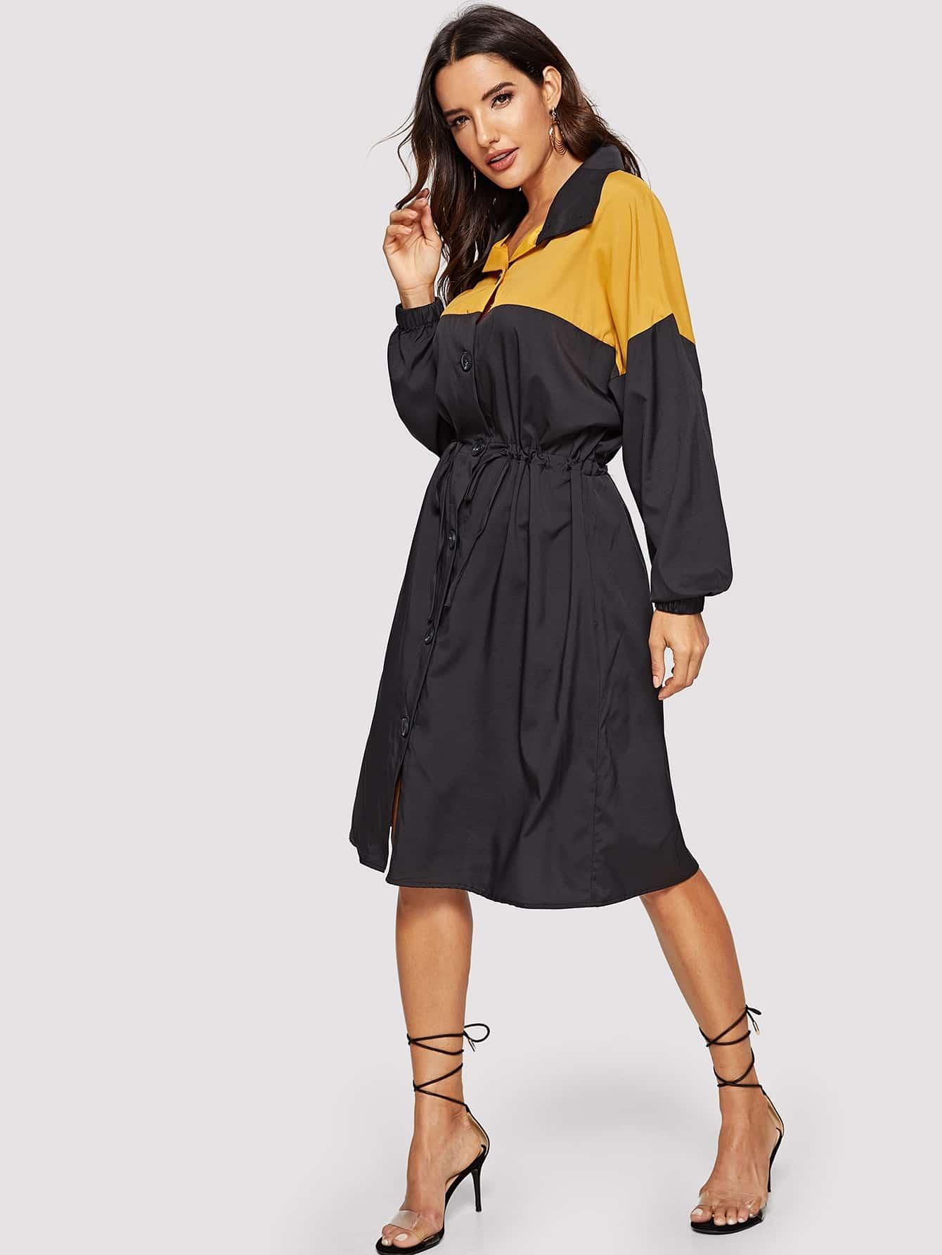 Купить Двухцветное платье-рубашка с кулиской, Juliana, SheIn