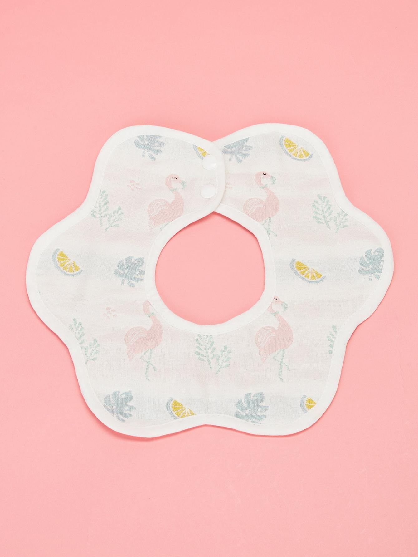 Купить Детский нагрудничек на пуговицах в форме цветка с тропическим узором, null, SheIn