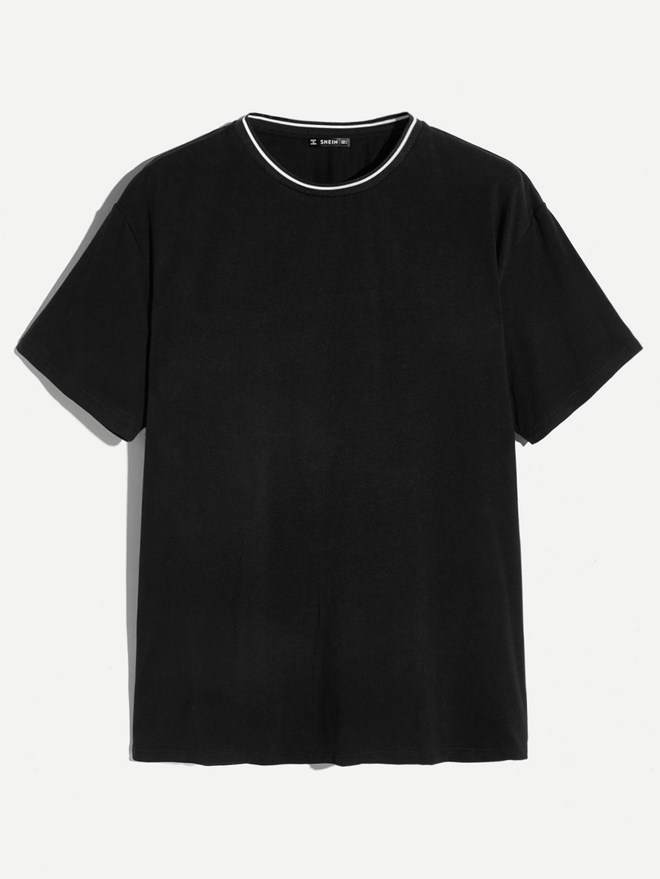 Купить Мужская однотонная футболка с контрастной отделкой, null, SheIn