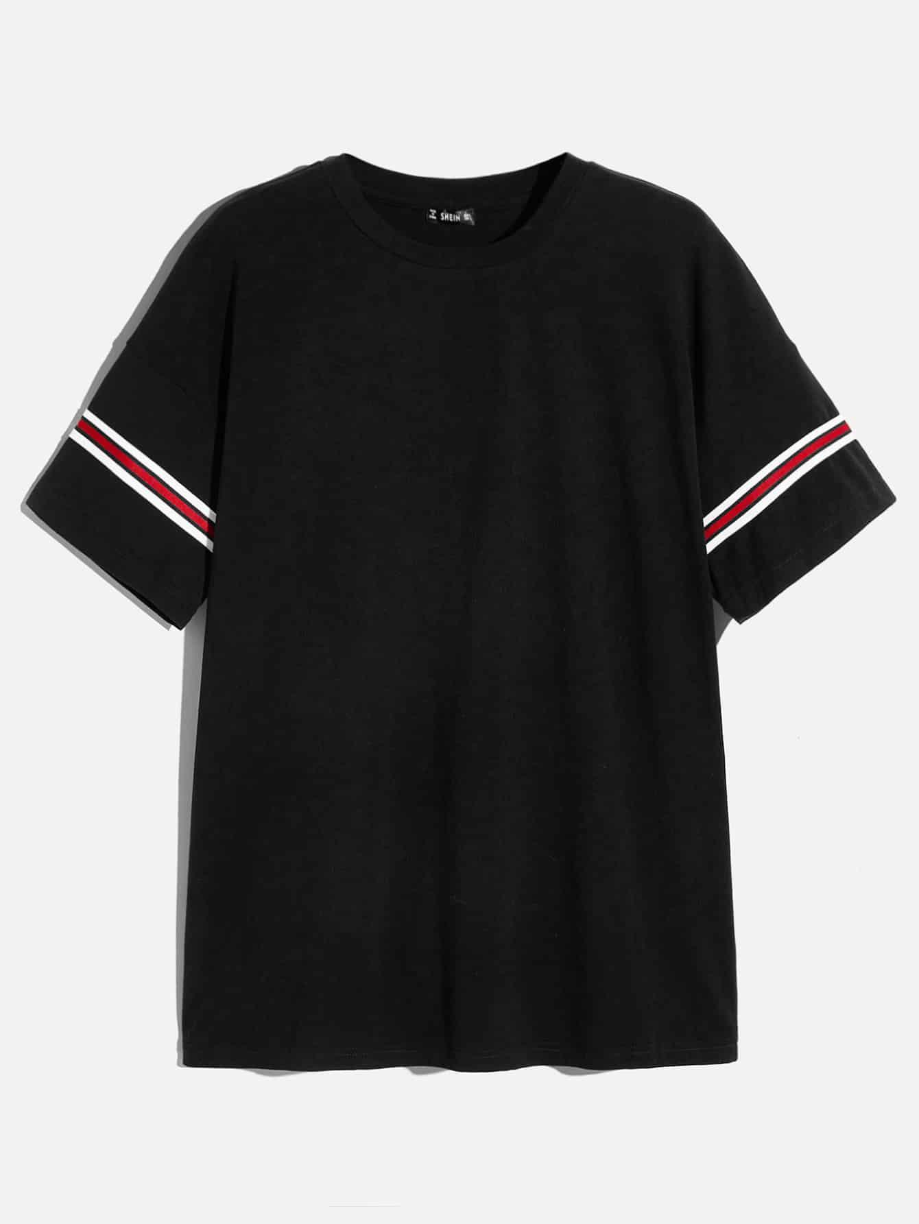Купить Мужская футболка с полосатым рукавом и круглым воротником, null, SheIn