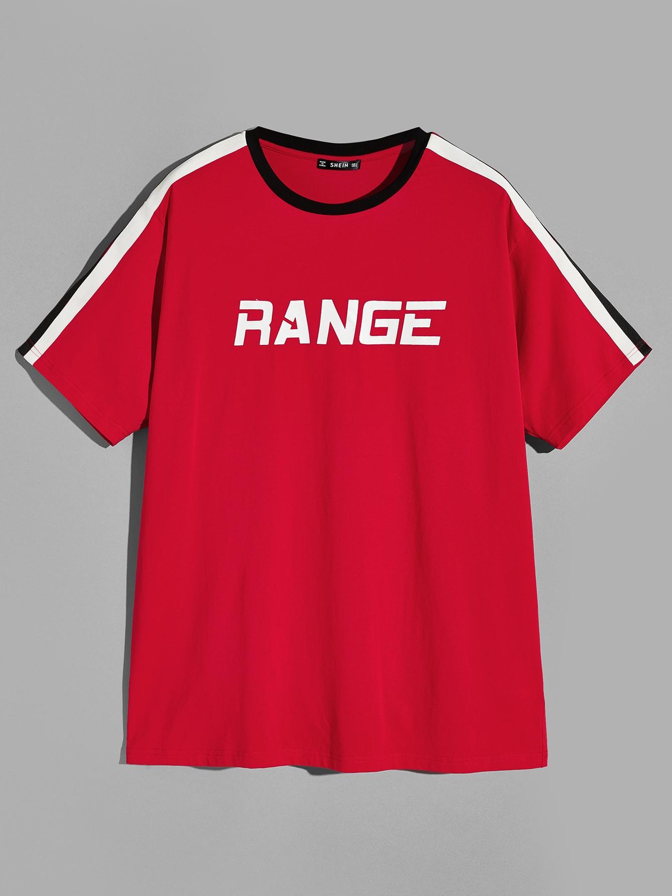 Купить Мужская футболка с полосатым рукавом и круглым воротником и текстовым принтом, null, SheIn