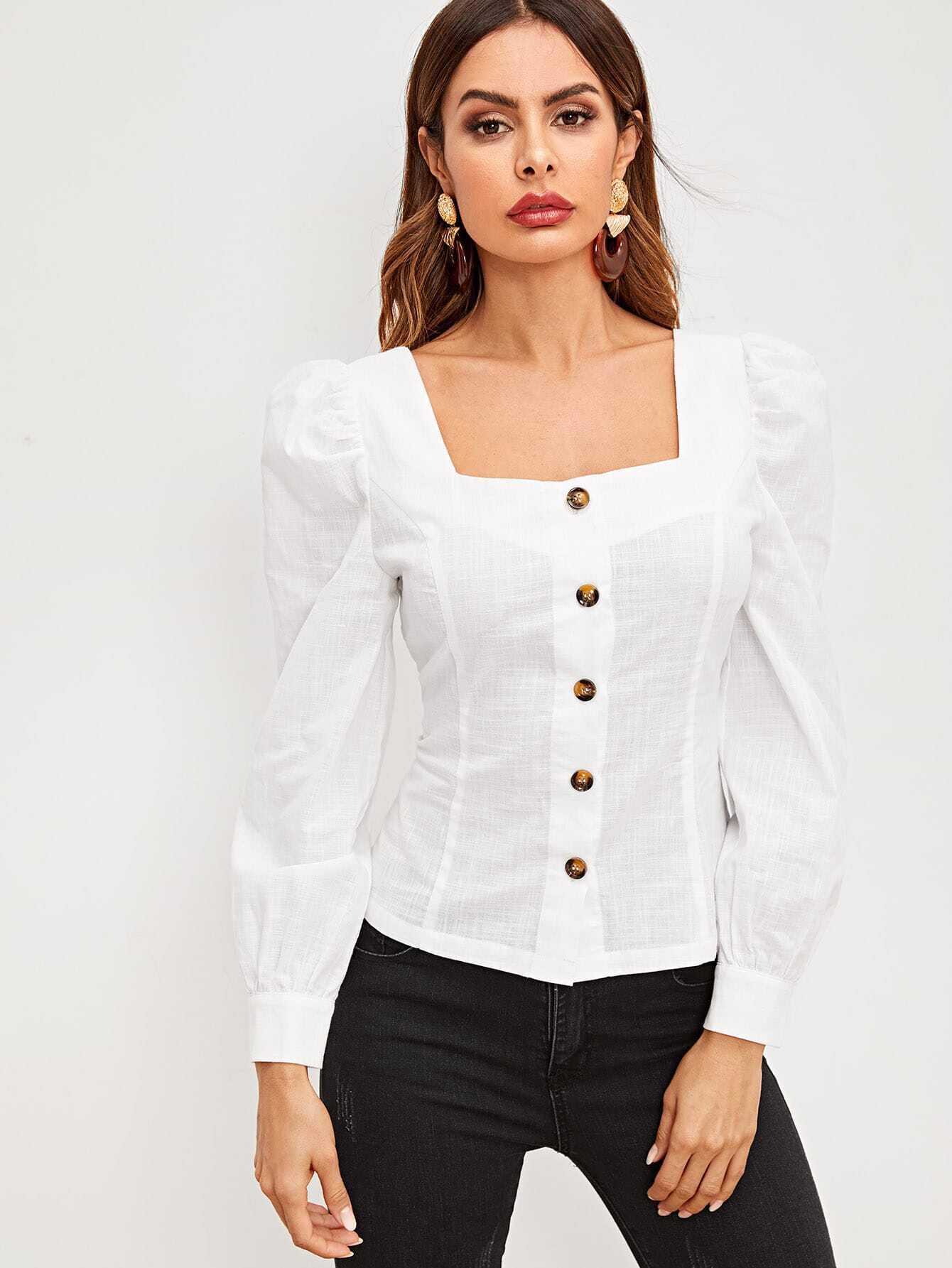 Купить Рубашка на пуговицах с квадратным вырезом и оригинальным рукавом, Andy, SheIn
