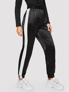 Contrast Sideseam Elastic Waist and Hem Pants