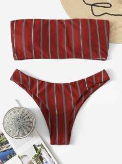 Striped Print Bandeau Bikini Set