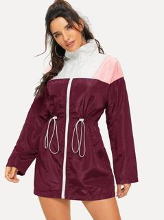 Cut-and-sew Drawstring Waist Windbreaker Jacket