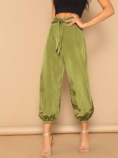 Zip Back Knotted Front Crop Tapered Pants