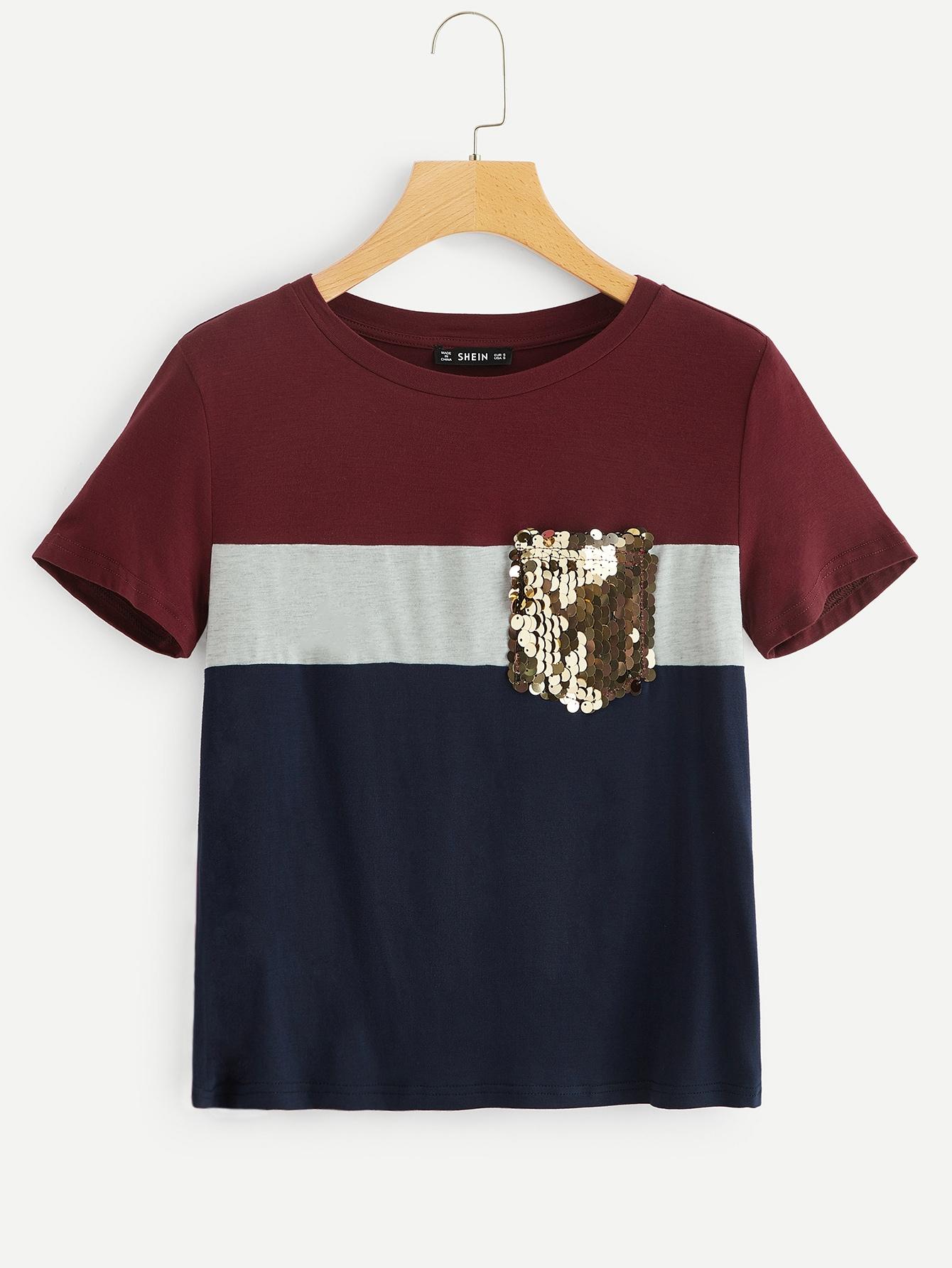 Купить Кроить и шить футболка с блестящим карманом, null, SheIn
