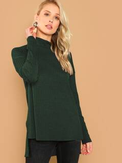 Roll Up Neck Ribbed Knit Solid Tee