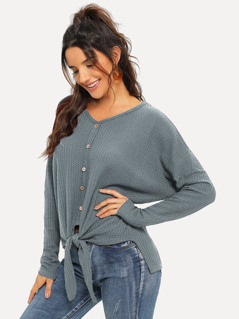 Drop Shoulder Buttoned Knot Hem Waffle Knit Top