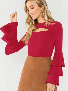 Cut Front Layered Sleeve Solid Tee
