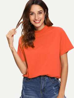 Mock-neck Neon Orange Boxy Tee