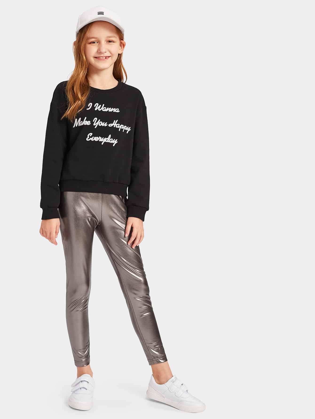 Свитшот с текстовым принтом и металлические брюки комплект для девочек, Sashab, SheIn  - купить со скидкой