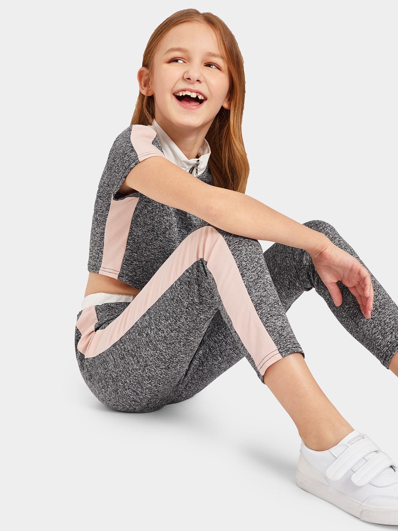 Купить Контрастная плоская куртка на молнии и брюки для девочек, Sashab, SheIn