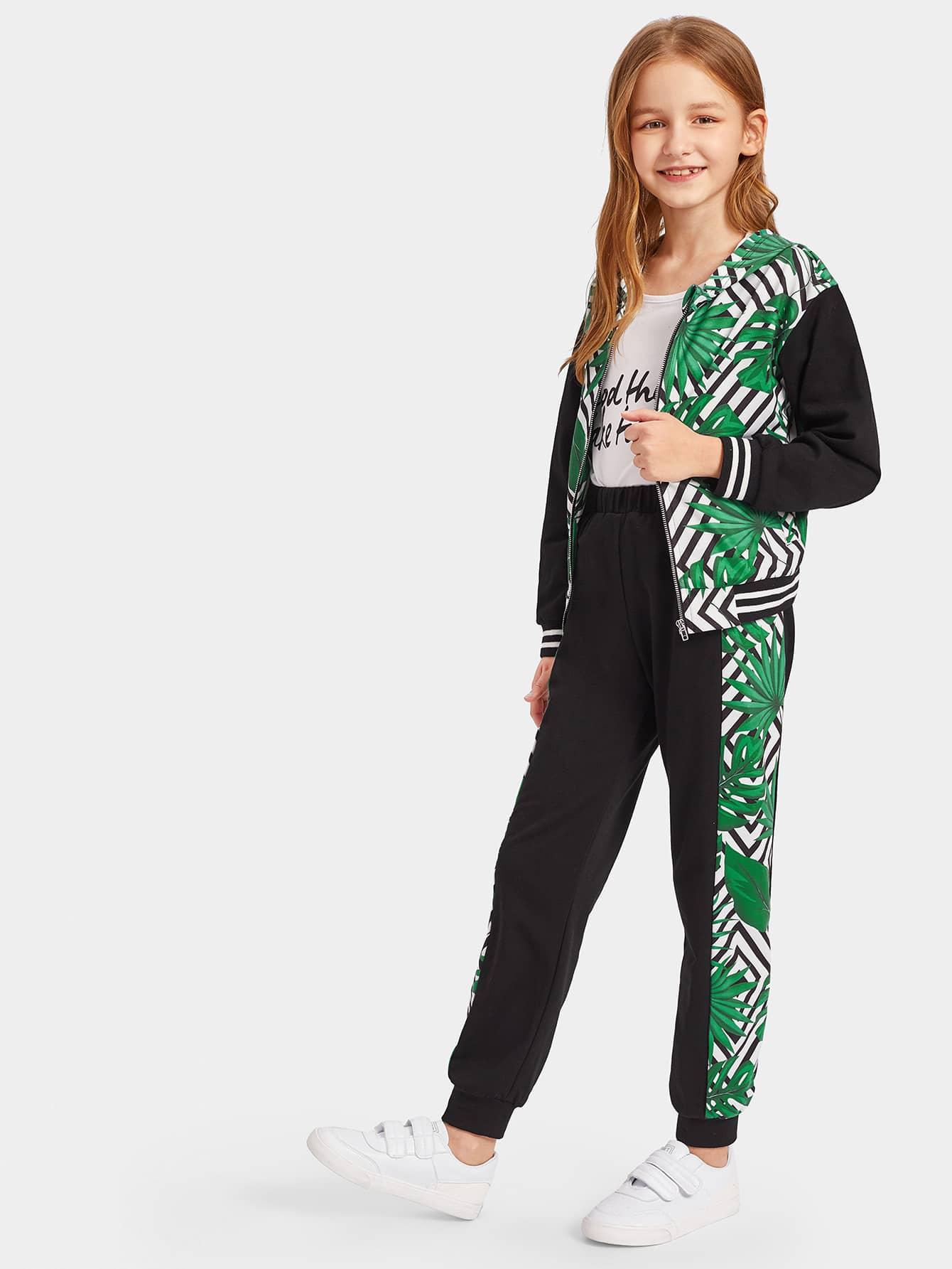 Купить Толстовка с полосатым и графическим принтом и спортивные брюки комплект, Sashab, SheIn