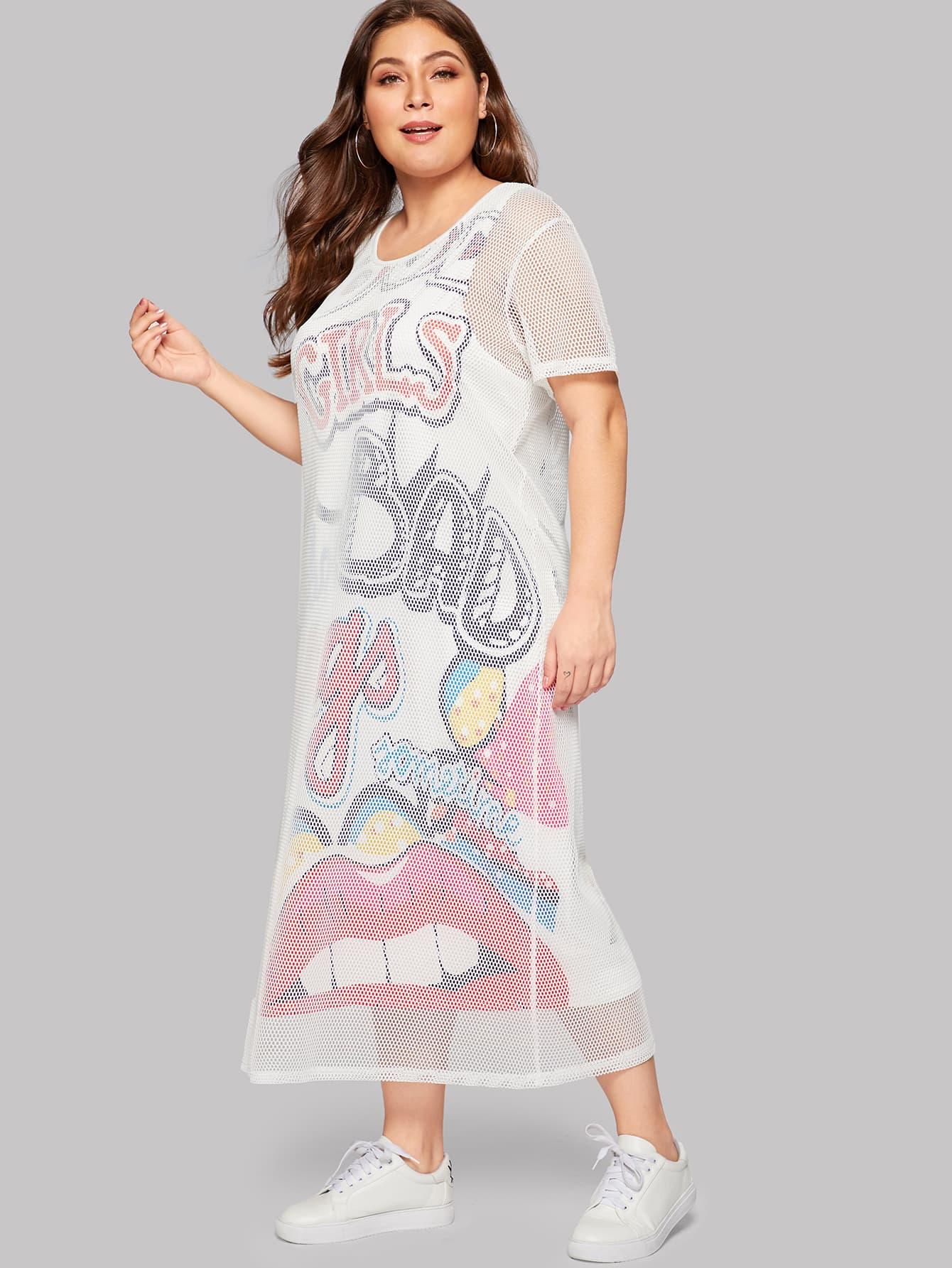 Купить Размера плюс 2 в 1 стильное платье с принтом губы, Carol, SheIn