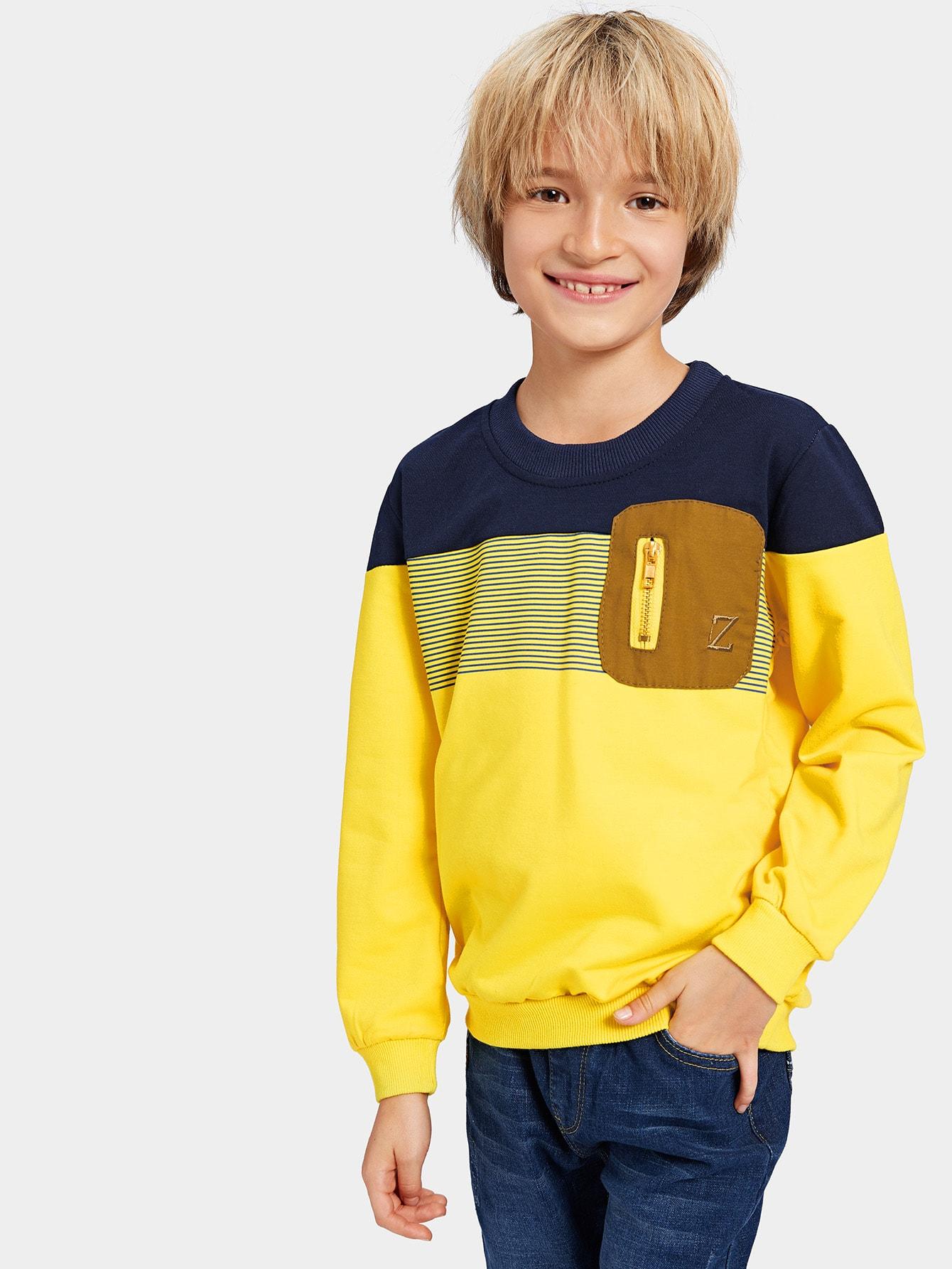 Контрастный свитшот с застёжкой молния для мальчика, Tim, SheIn  - купить со скидкой