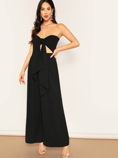 Wrap Tie Top And High Waist Wide Leg Pants Set