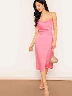 Back Zip Side Slit Satin Midi Slip Dress