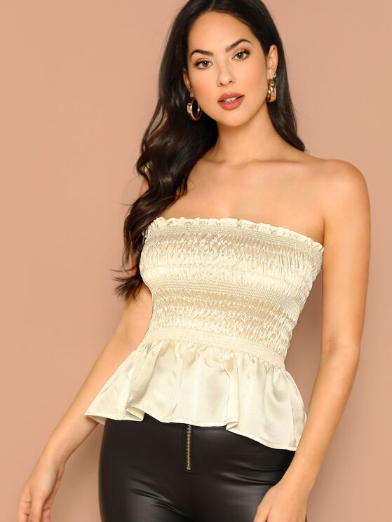 47414979e05 Satin Smocked Bodice Peplum Hem Tube Top