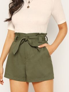 Paper Bag Waist Side Pockets Twill Bermuda Shorts