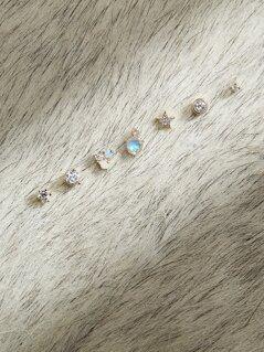 Gold Tone Rhinestone Mismatched Stud Earrings Pack