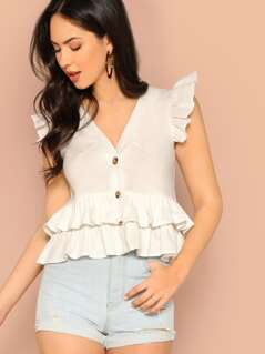 Button Front Ruffle Detail V-Neck Blouse