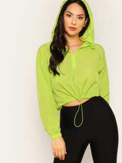 Neon Lime Half Zip Drawstring Hood Crop Pullover Windbreaker