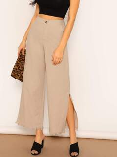 High Waist Raw Hem Side Slit Flared Leg Pants