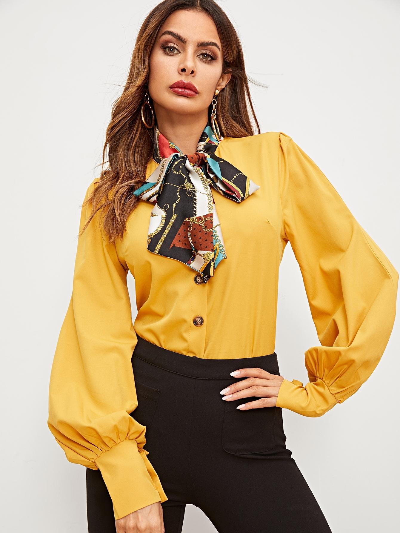 Купить Блуза с завязкой на шее и оригинальным рукавом, Andy, SheIn