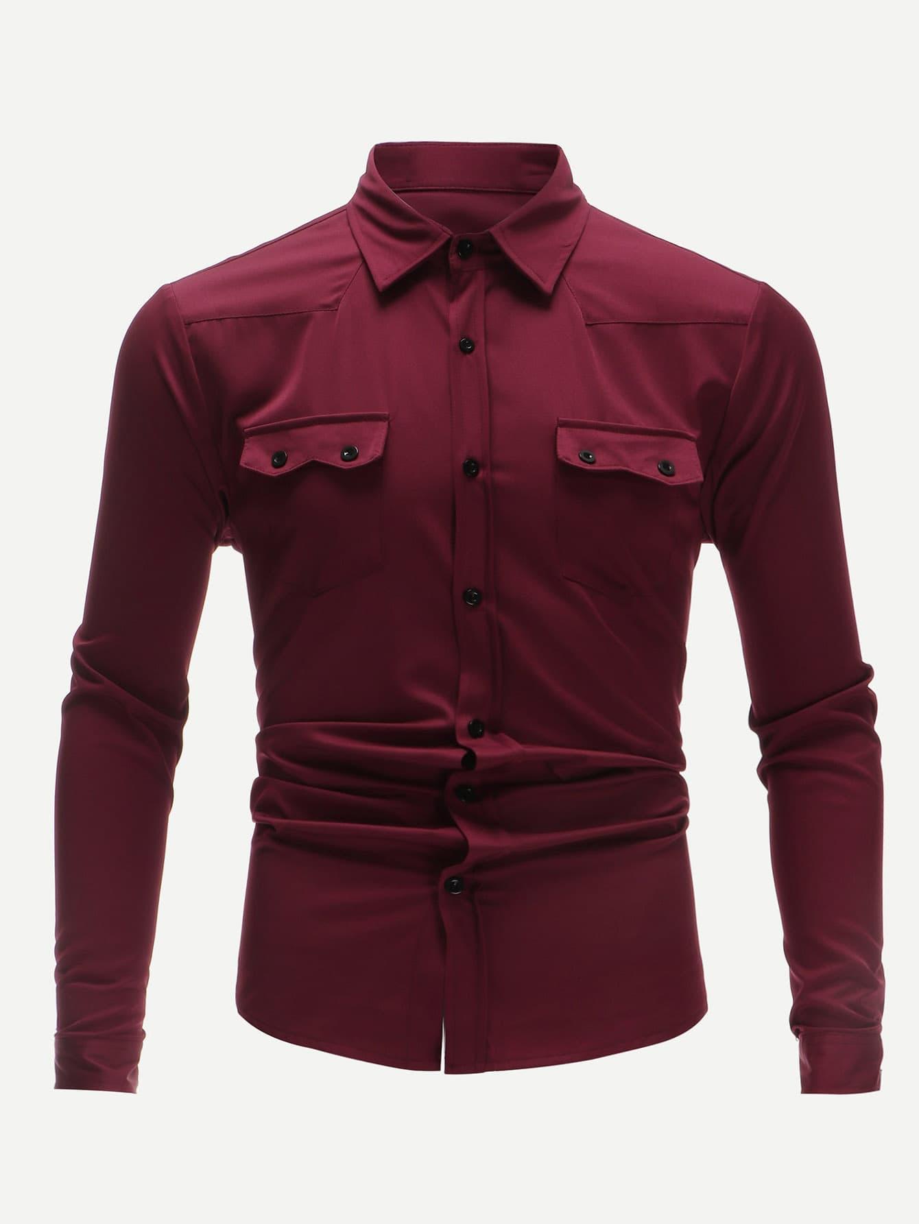 Купить Мужская однотонная футболка с двумя кармана, null, SheIn