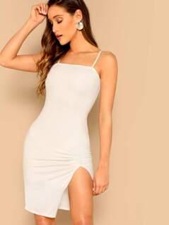 Ruched Split Hem Cami Bodycon Dress