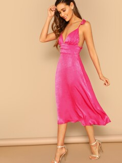 Neon Pink Shirred Panel Backless Dress With Tie Strappy