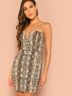 Sweetheart Neckline Snakeskin Tube Dress