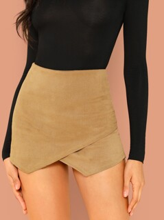 Overlap Front Zip Back Corduroy Shorts