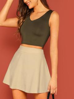 Wide Waist Flare Corduroy Skirt