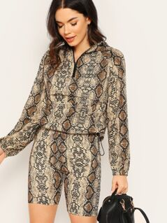 Snakeskin Pocket Front Jacket and Leggings Shorts Set