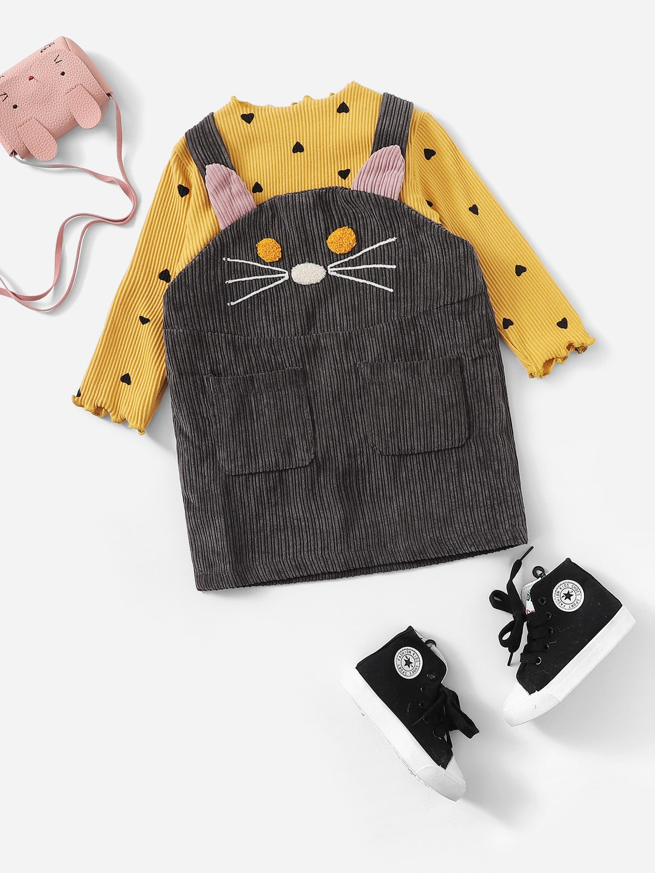 Купить Топ с оборками и принтом сердцей и сарафан с принтом вышитого кота для маленьких девочек, null, SheIn