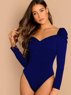 Puff Sleeve Solid Wrap Bodysuit