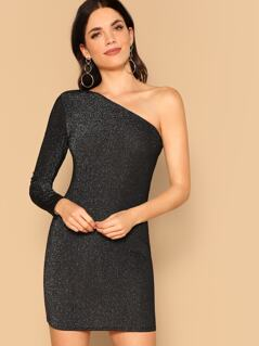 One Shoulder Glitter Pencil Dress