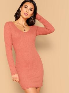 Rib-knit Bodycon Dress