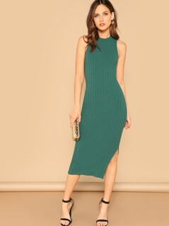 Side Slit Rib-knit Pencil Dress