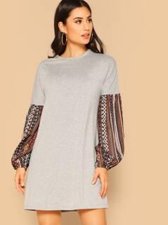 Contrast Geo Print Sleeve Tunic Dress