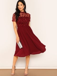 Flower Applique Mesh Top Flowy Dress