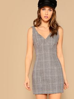 Glen Plaid Pinafore Fitted Dress