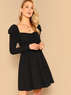 Puff Sleeve Sweetheart Ruched Fit & Flare Dress