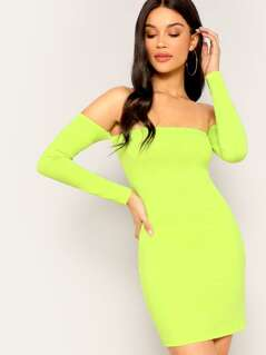 Off Shoulder Neon Lime Bodycon Dress