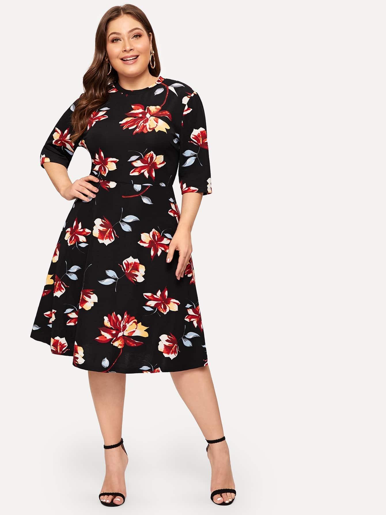 Купить Размер плюс приталенное расклешенное платье с цветочным принтом, Carol, SheIn