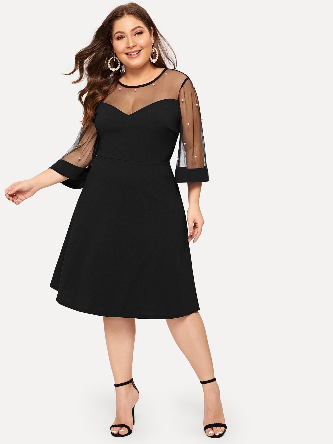 Размер плюс прозрачное расклешенное платье с жемчугами