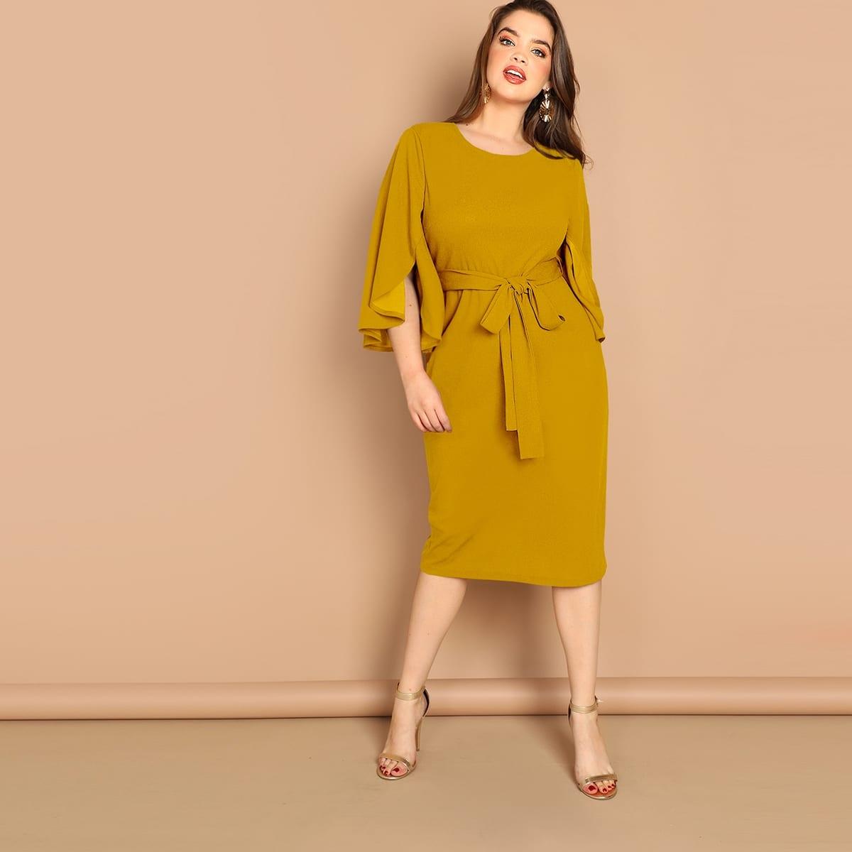 Gember  Elegant Vlak Grote maten jurken Split